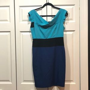 Color block fitted pencil skirt dress